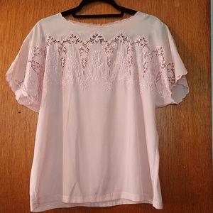 Tops - Vintage pink peek a boo blouse